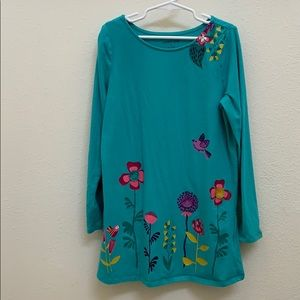 Lands End Girls Tunic/dress with appliqué Flowers